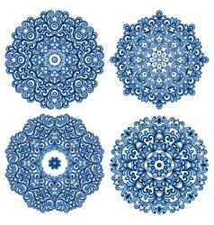Set of mandalas in gzhel style vector