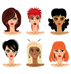 set of woman portraits vector image vector image