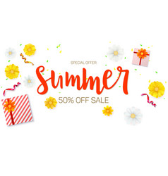 Summer sale ad banner top view gift box with red vector