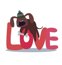 Valentine card design with cute dog vector image vector image