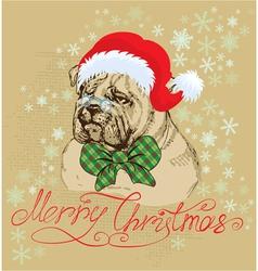 Vintage christmas card with bulldog vector