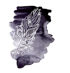 Watercolor design element feather vector