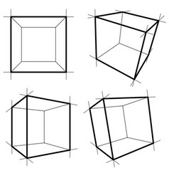 wireframe boxes eps10 vector image
