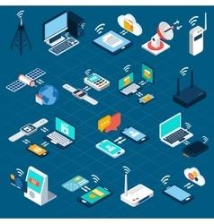 Wireless technologies isometric icons vector