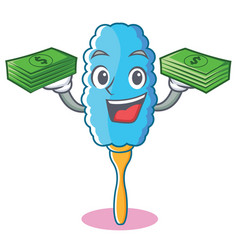 With money feather duster character cartoon vector