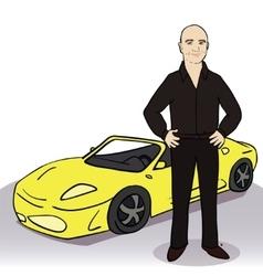 Yellow car and man vector