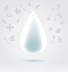 White glowing milk drop vector image