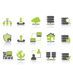 Green network server hosting icons vector