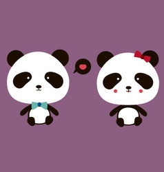 Happy couple panda vector
