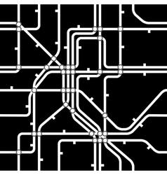 Seamless black background of metro scheme vector image
