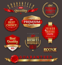 Premium quality golden labels and emblems vector