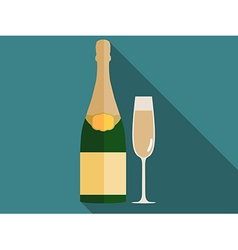 Bottle of champagne with a glass in a flat style vector