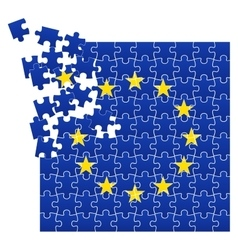 European Union flag divided on jigsaw puzzle vector image