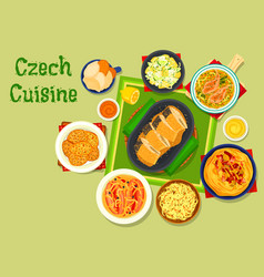 Czech cuisine traditional dishes icon design vector