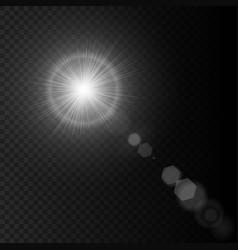 Summer sun lens flare with realistic light lens vector