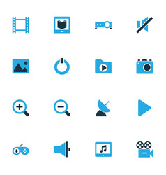 Multimedia colorful icons set collection of vector