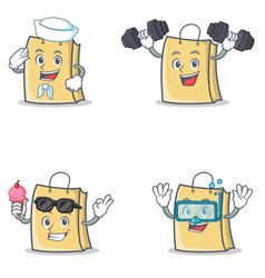 Set of bag character with sailor fitness ice cream vector