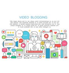 Video blogger flat line concept computer screen vector
