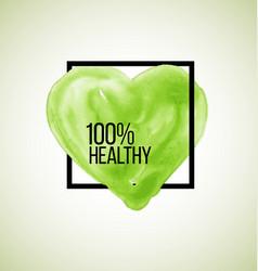 Modern healthy label watercolor heart vector