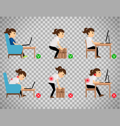 Woman sitting and working correct postures vector