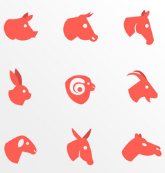 Farm animal flat icons vector