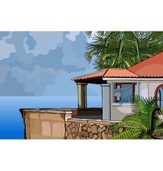 House in the tropics by the sea vector