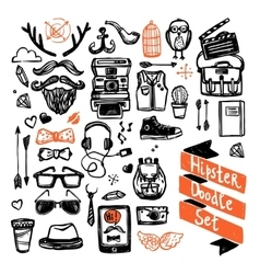 Sketch hipster set vector