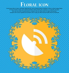 Gps icon flat modern floral flat design on a blue vector