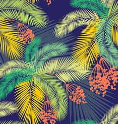 Seamless color palm leaves and fruit pattern vector