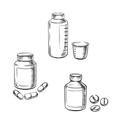 Bottles with pills capsules and cough syrup vector