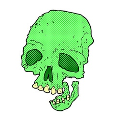 Comic cartoon ancient spooky skull vector