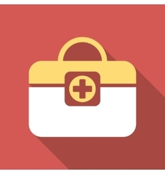 Medic case flat square icon with long shadow vector