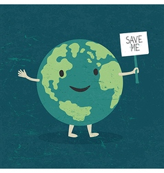 Cartoon Earth Planet smile and hold banner with S vector image