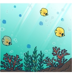 Sea or ocean underwater coral reef vector