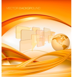 abstract orange elegant background with globe vector image