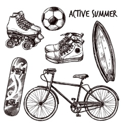 Active recreation sketch set vector