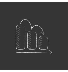 Bar chart down drawn in chalk icon vector