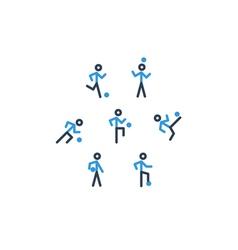 Blue black soccer team icons vector