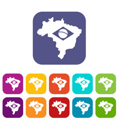 Brazil map with flag icons set flat vector