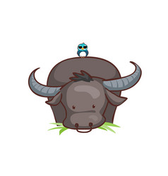 Buffalo eating grass and bird vector