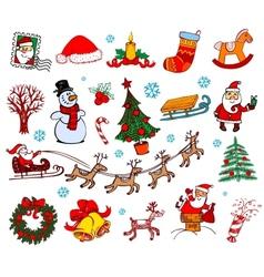 Christmas doodle symbols vector