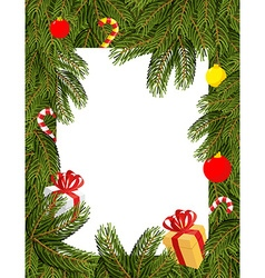 Christmas frame Pine branches decorated with vector image vector image