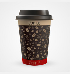 close up of blank paper coffee cup vector image vector image