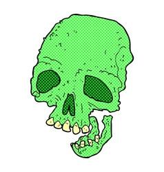 Comic cartoon ancient spooky skull vector