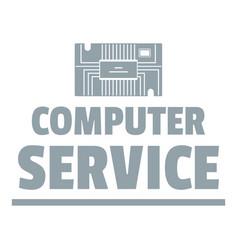 computer service logo simple gray style vector image vector image