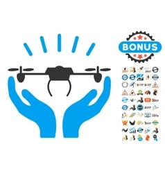 Drone Launch Hands Icon With 2017 Year Bonus vector image vector image