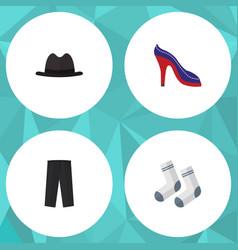 Flat icon garment set of pants panama foot vector