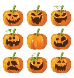 Halloween big set with pumpkins Halloween 3d vector image