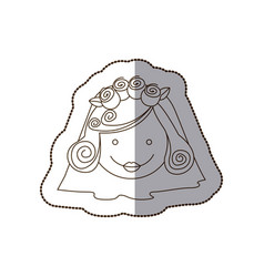 Happy face bride with veil vector