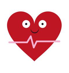 Heartbeat medical symbol cartoon smiling vector
